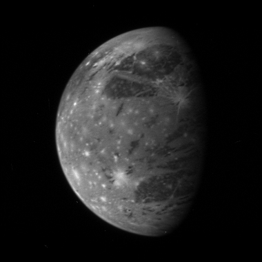 This is <B>New Horizons</B>' best image of Ganymede, Jupiter's largest moon: 125 KB; click on the image to view the original website
