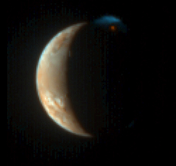 New Horizons captured this unique view of Jupiter's moon Io with its color camera - the Multispectral Visible Imaging Camera (MVIC): 53 KB; click on the image to view the original website