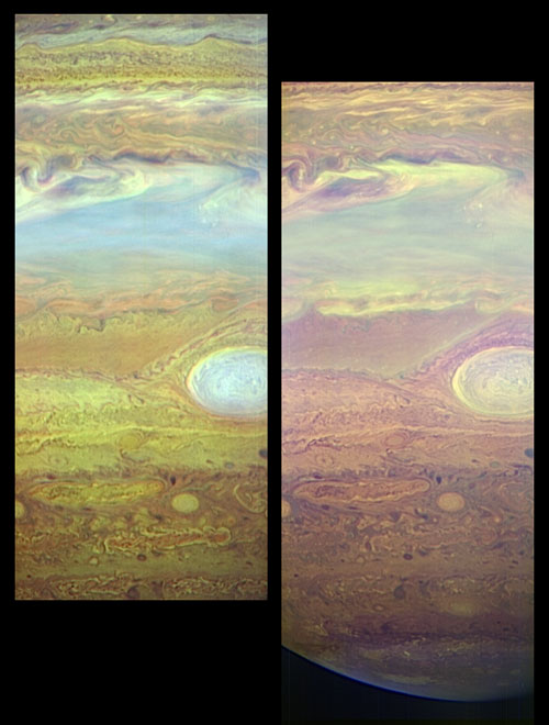 These images, taken with the LEISA infrared camera on the New Horizons Ralph instrument, show fine details in Jupiter's turbulent atmosphere using light that can only be seen using infrared sensors: 62 KB; click on the image to view the original website