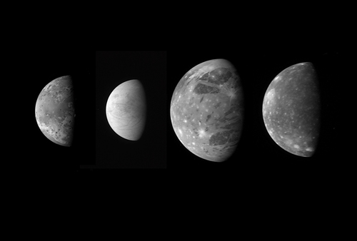 This montage shows the best views of Jupiter's four large and diverse